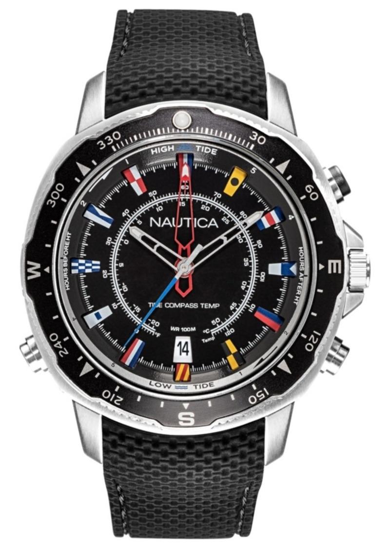 Nautica Men's NAPSSP901 Soledad South Ttc Black/Silver Silicone Strap Watch