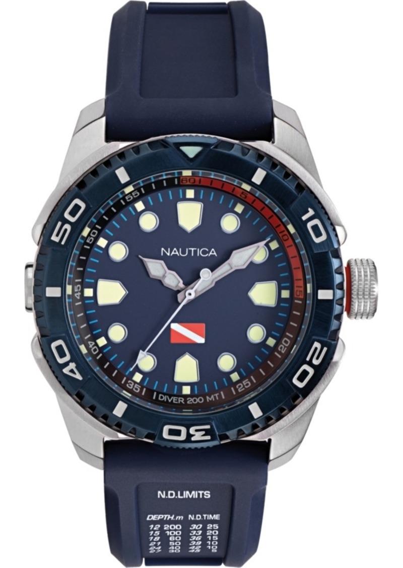 Nautica Men's NAPTDS902 Tarpoon Dive Blue/Silver Silicone Strap Watch