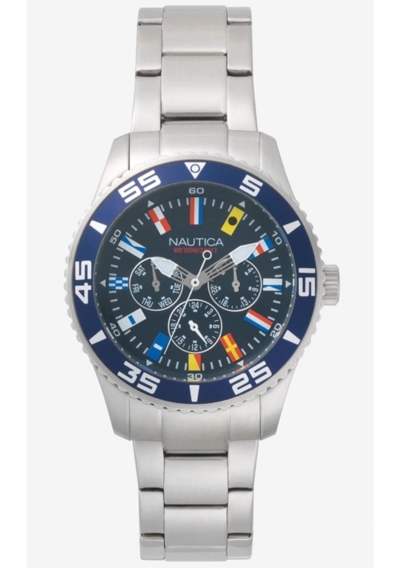 Nautica Men's NAPWHC001 White Cap Multifunction Silver/Navy Stainless Steel Bracelet Watch Box Set + Navy Leather Strap