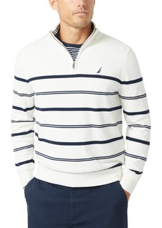 Nautica Men's Navtech Striped Quarter-Zip Sweater
