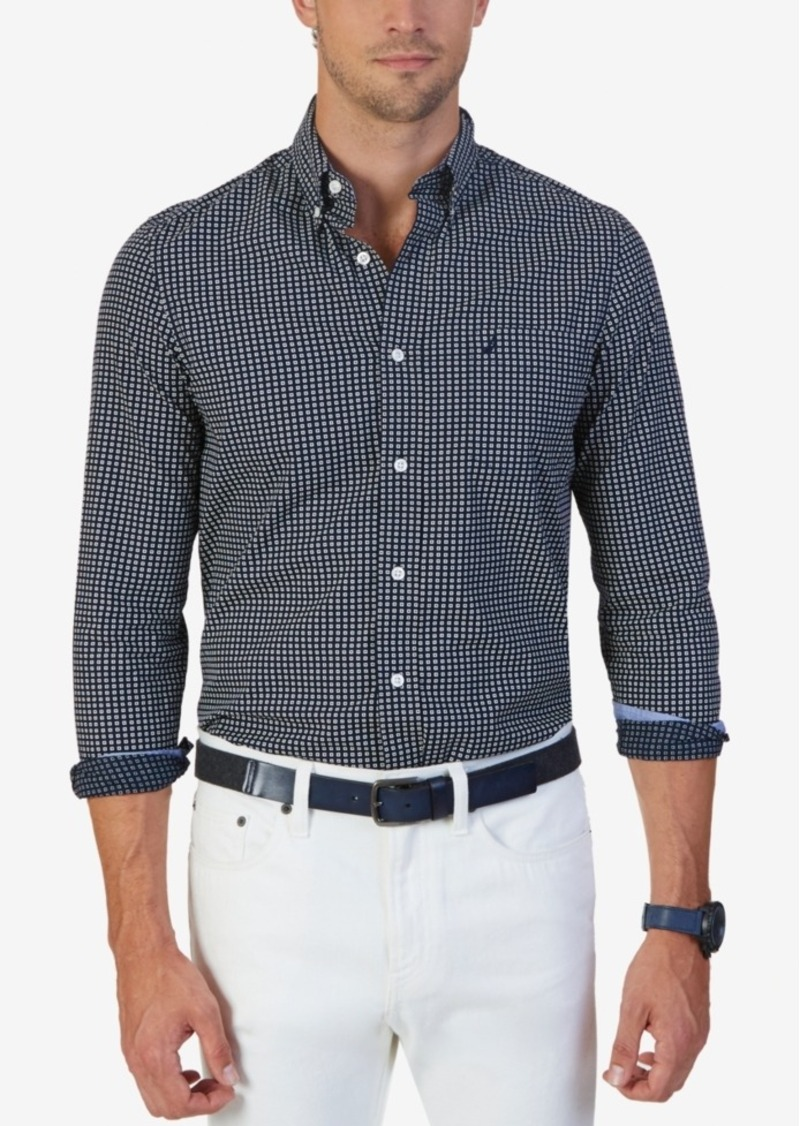 Nautica Men's Non-Iron Box-Square Long-Sleeve Shirt