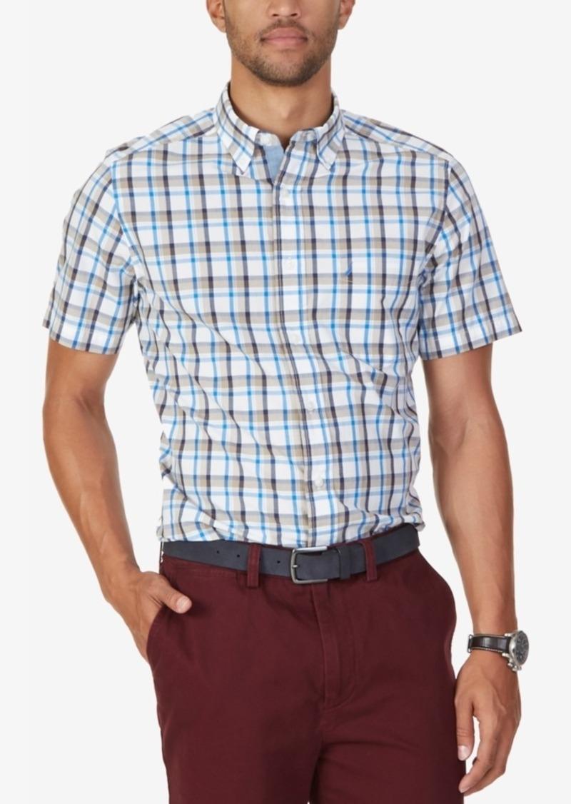 Nautica Men's Oyster Plaid Short-Sleeve Shirt