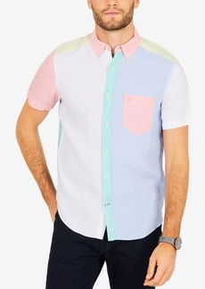 Nautica Men's Pastel Colorblocked Linen Classic Fit Shirt