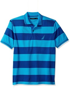 Nautica Men's Performance Wicking and Stain Resistant Stripe Polo Shirt Bright Blue jig
