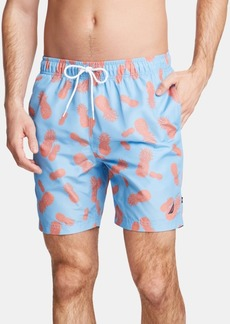 "Nautica Men's Pineapple-Print 8"" Swim Trunks"