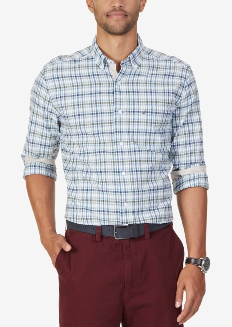 Nautica Men's Plaid Button-Down Long-Sleeve Shirt