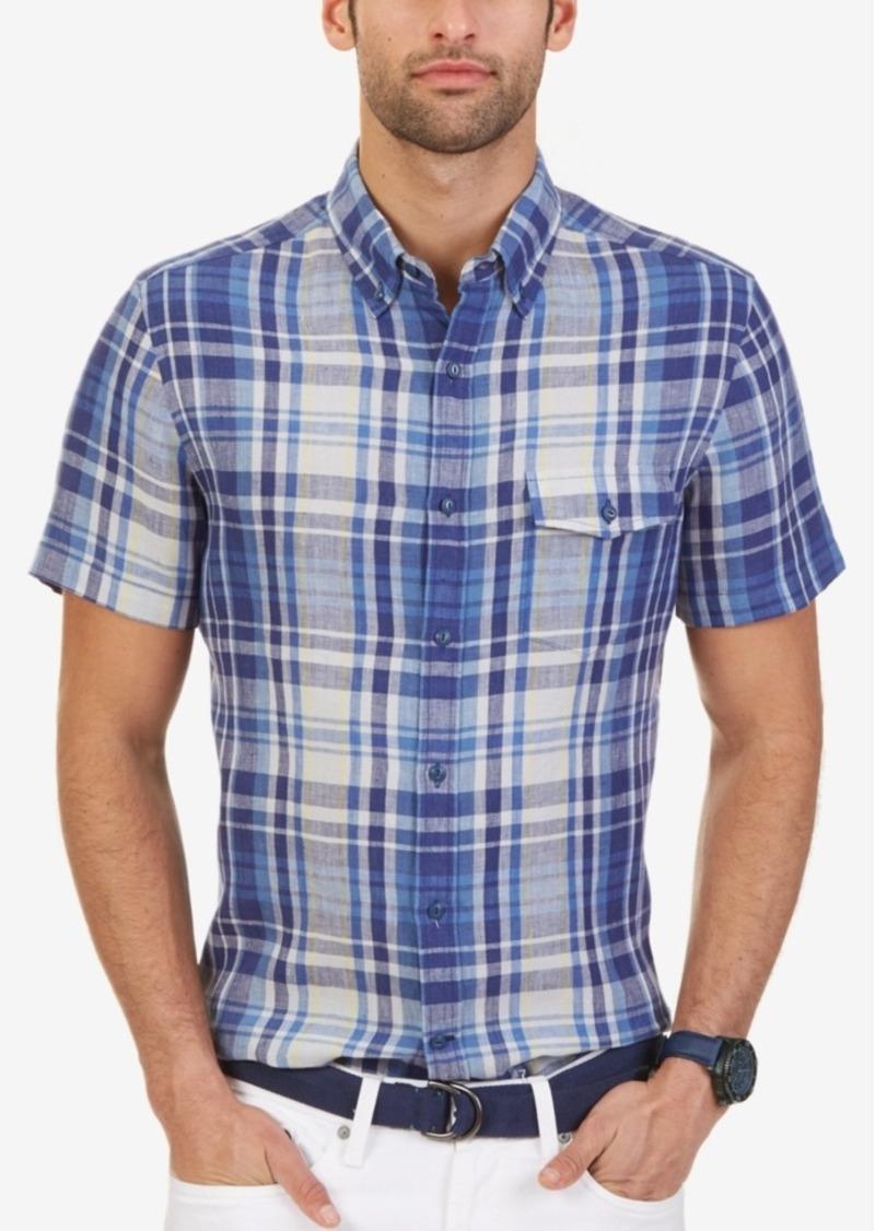 Nautica Men's Plaid Linen Slim Fit Short-Sleeve Shirt