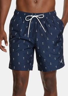 "Nautica Men's Quick-Dry Anchor-Print 8"" Swim Trunks"