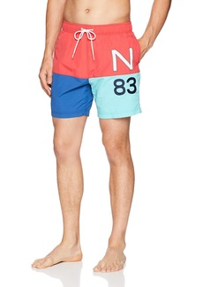 Nautica Men's Quick Dry Full Elastic Waist Colorblock Swim Trunk