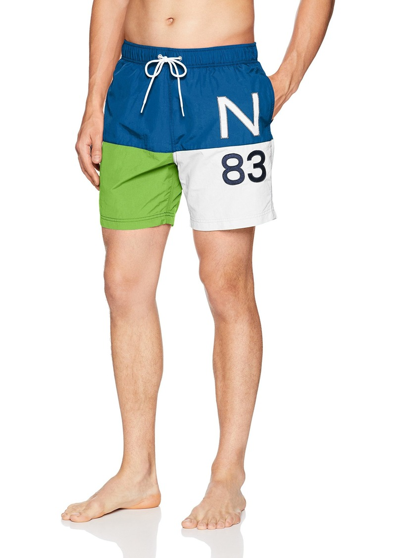 63758e3a43 Nautica Men's Quick Dry Full Elastic Waist Colorblock Swim Trunk Lime surf