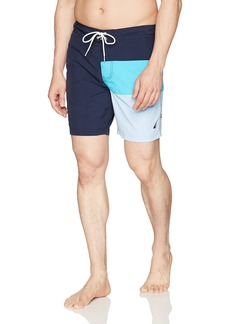 Nautica Men's Quick Dry Half Elastic Waist Colorblock Swim Trunk