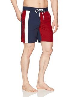 Nautica Men's Quick Dry Half Elastic Waist Colorblock Swim Trunk Red