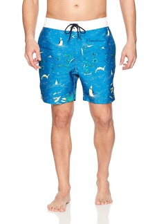 Nautica Men's Quick Dry Half Elastic Waist Printed Swim Trunk