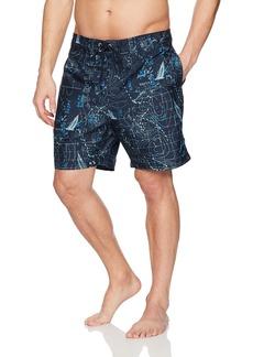 Nautica Men's Quick Dry Half Elastic Waist Printed Swim Trunk