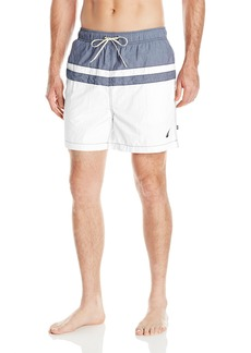 Nautica Men's Quick Dry Striped Color Block Swim Trunk