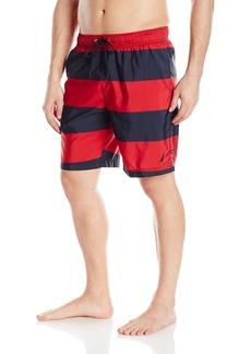 Nautica Men's Quick Dry Striped Swim Trunk Red