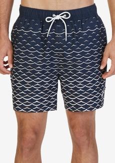 Nautica Men's Quick Dry Wave-Print Swim Trunks