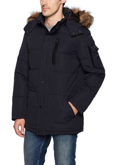 Nautica Men's Quilted Parka Jacket With Removable Faux Fur Hood  XL