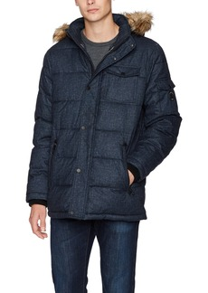 Nautica Men's Quilted Parka Jacket with Removable Faux Fur  L