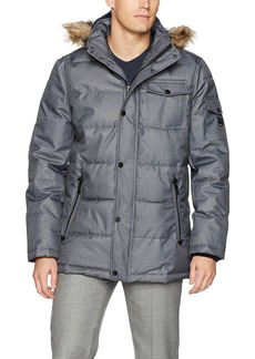 Nautica Men's Quilted Parka Jacket with Removable Faux Fur  S