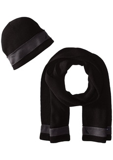 Nautica Men's Raised Stripe Hat and Scarf Set