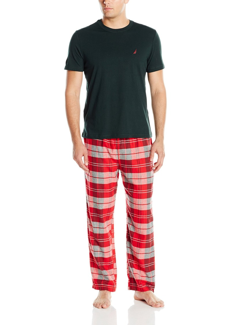Nautica Men's Red Plaid Flannel Pant and Green Short Sleeve Tee Set