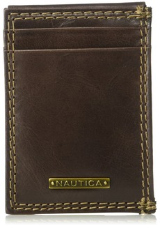 Nautica Men's Rfid Blocking 100% Leather Magnetic Front Pocket Wallet
