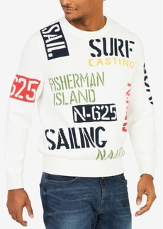 Nautica Men's Sail & Surf Graphic-Print Intarsia-Knit Sweater