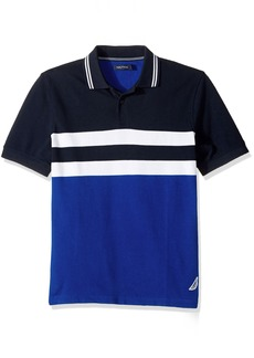 Nautica Men's Short Sleeve Classic Fit Color Block Polo Shirt