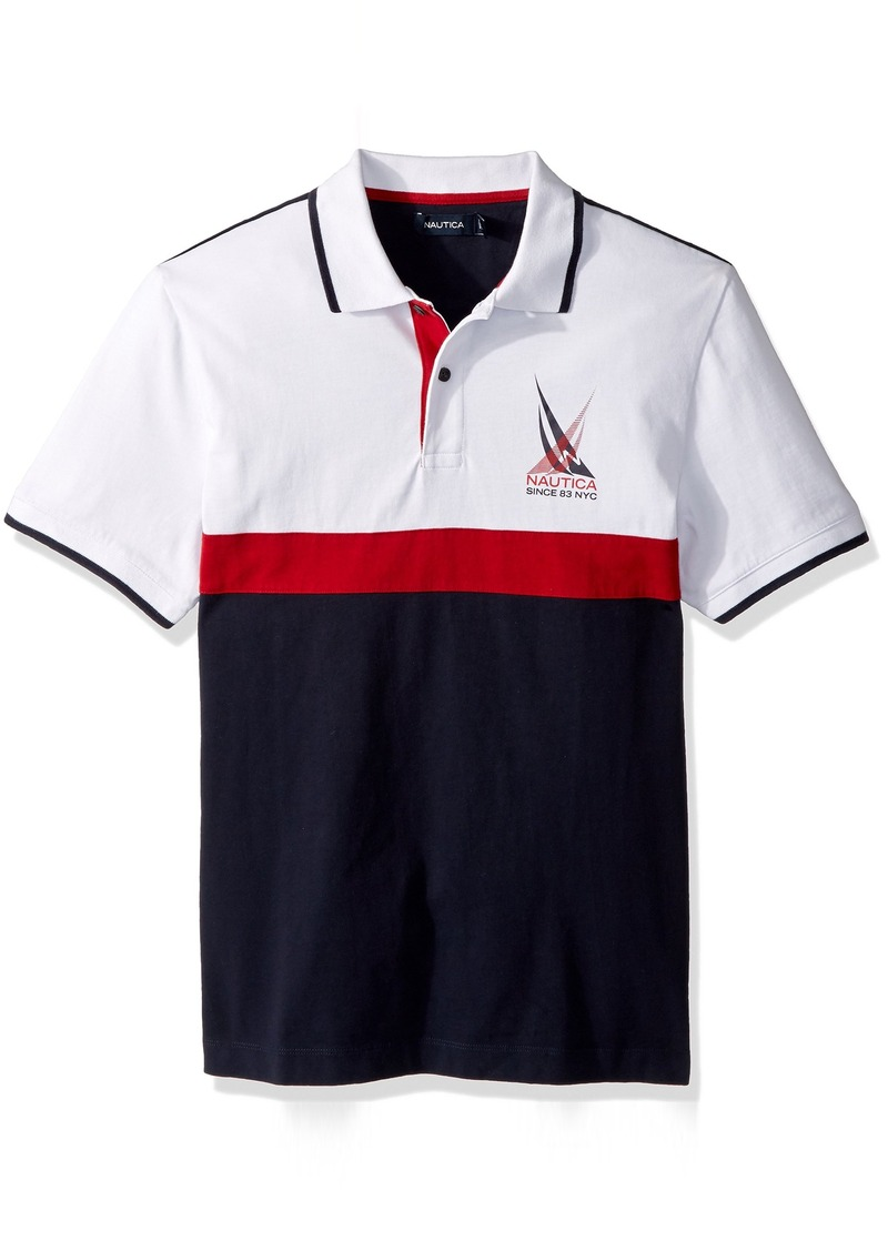 0361d28e Men's Short Sleeve Classic Fit Heavy Jersey Color Block Polo Shirt S.  Nautica