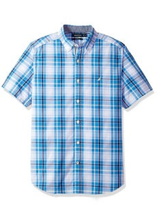Nautica Men's Short Sleeve Classic Fit Plaid Button Down Shirt