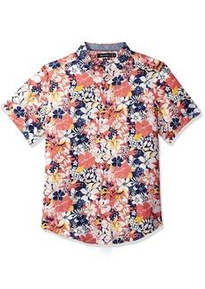 Nautica Men's Short Sleeve Classic Fit Print Linen Button Down Shirt