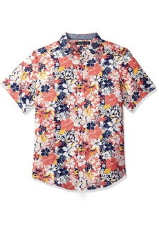 Nautica Men's Short Sleeve Classic Fit Print Linen Button Down Shirt
