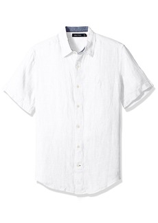 Nautica Men's Short Sleeve Classic Fit Solid Linen Button Down Shirt
