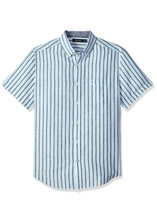 Nautica Men's Short Sleeve Classic Fit Striped Linen Button Down Shirt