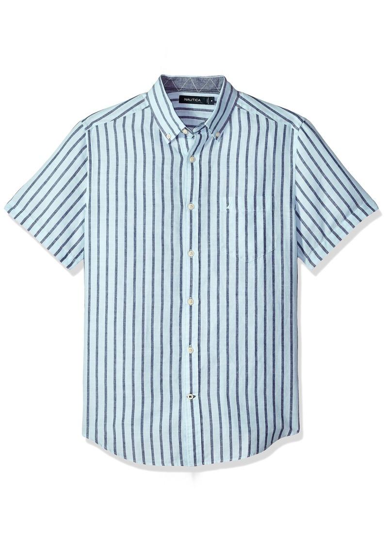 d6e2246c7a Men's Short Sleeve Classic Fit Striped Linen Button Down Shirt. Nautica