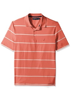 Nautica Men's Short Sleeve Classic Fit Striped Performance Polo Shirt