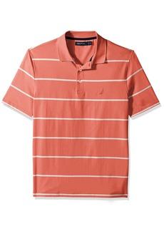 Nautica Men's Short Sleeve Classic Fit Striped Performance Polo Shirt