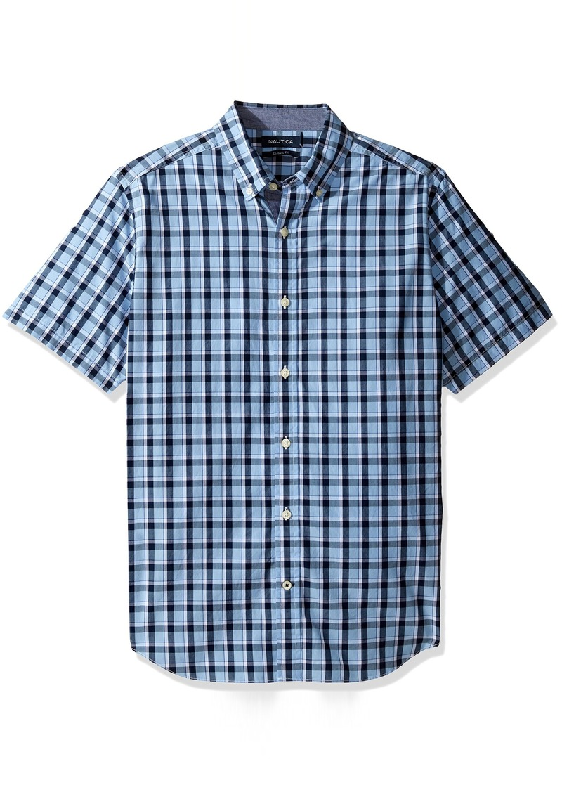 Nautica nautica men 39 s short sleeve large plaid button down for Nautica shirts on sale