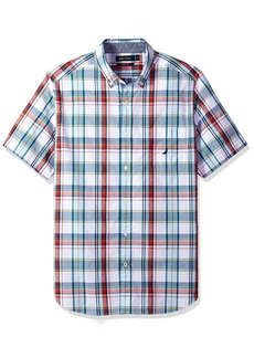 Nautica Men's Short Sleeve Plaid Button Down Shirt