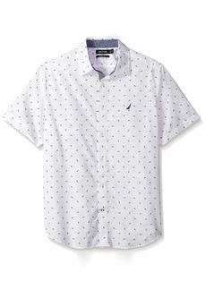 Nautica Men's Short Sleeve Printed Button Down Shirt