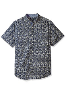 Nautica Men's Short Sleeve Signature Print Button Down Shirt