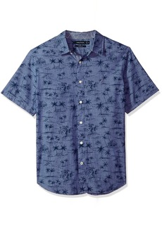 Nautica Men's Short Sleeve Signature Print Button Down Shirt j Navy