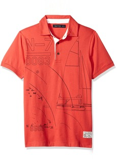 Nautica Men's Short Sleeve Slim Fit Fashion Print Polo Shirt Sailor red