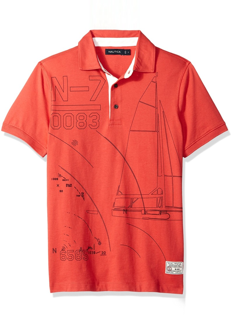 Nautica Men's Short Sleeve Slim Fit Fashion Print Polo Shirt Sailor red