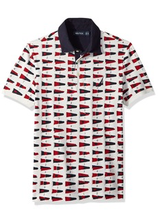 Nautica Men's Short Sleeve Slim Fit Fashion Print Polo Shirt