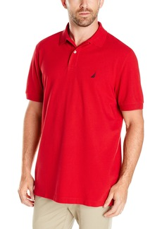 Nautica Men's Short Sleeve Solid Cotton Pique Polo Shirt Red