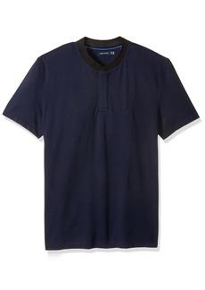 Nautica Men's Short Sleeve Solid Henley Collar Polo Shirt