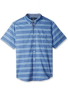 Nautica Men's Short Sleeve Striped Button Down Shirt