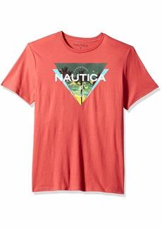 Nautica Men's Short Sleeve Triangle Print Crew Neck T-Shirt